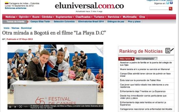 Le réalisateur Juan Andrés Arango et l'acteur Luis Carlos Guevara font la une du journal colombien El Universal lors de leur passage à Cannes en 2012.