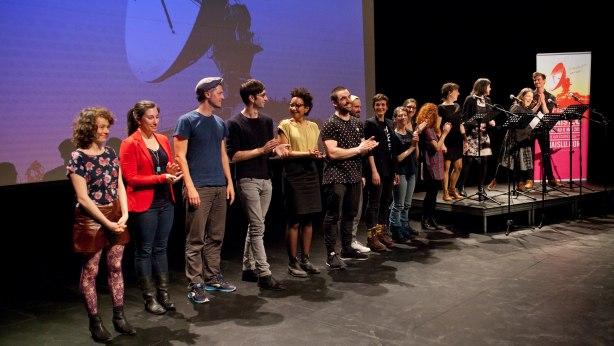 Les auteurs participant au 15e Festival du Jamais Lu, le soir du lancement de la programmation. Photo : Festival du Jamais Lu.